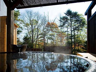 温泉大浴場隣接の貸切露天風呂。肌馴染みの良いお湯、移りゆく景色、木々のざわめきや鳥のさえずりを独り占めできます。